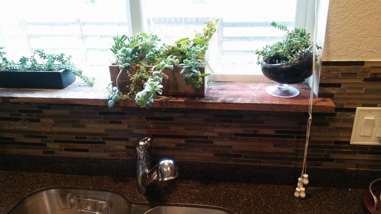 Reclaimed wood window sill