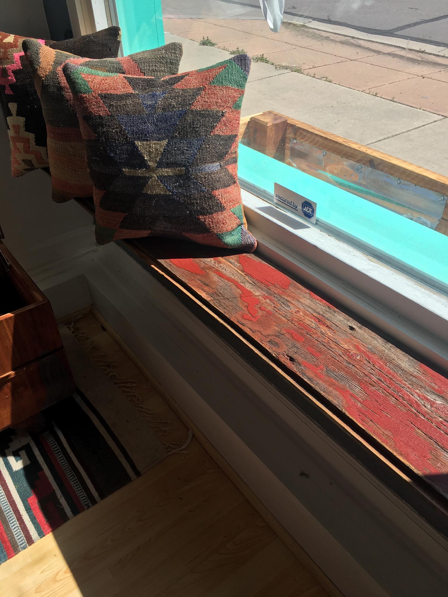 Red Barnwood shelf reclaimed red shelf