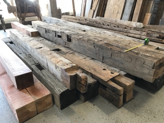 Hand Hewn beams at the store ready for you!
