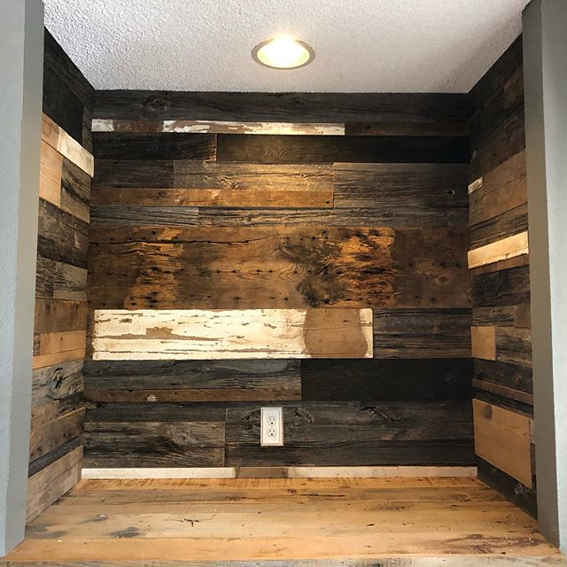 Our latest install!! A nook in a bedroom, covered with varied widths and lengths. Came out amazing!! We're ready to help you start your project!  #localbusiness #smallbusinessmarketing #woodworking #reclaimedwood #longmontcolorado #interiordesign #rusticdecor