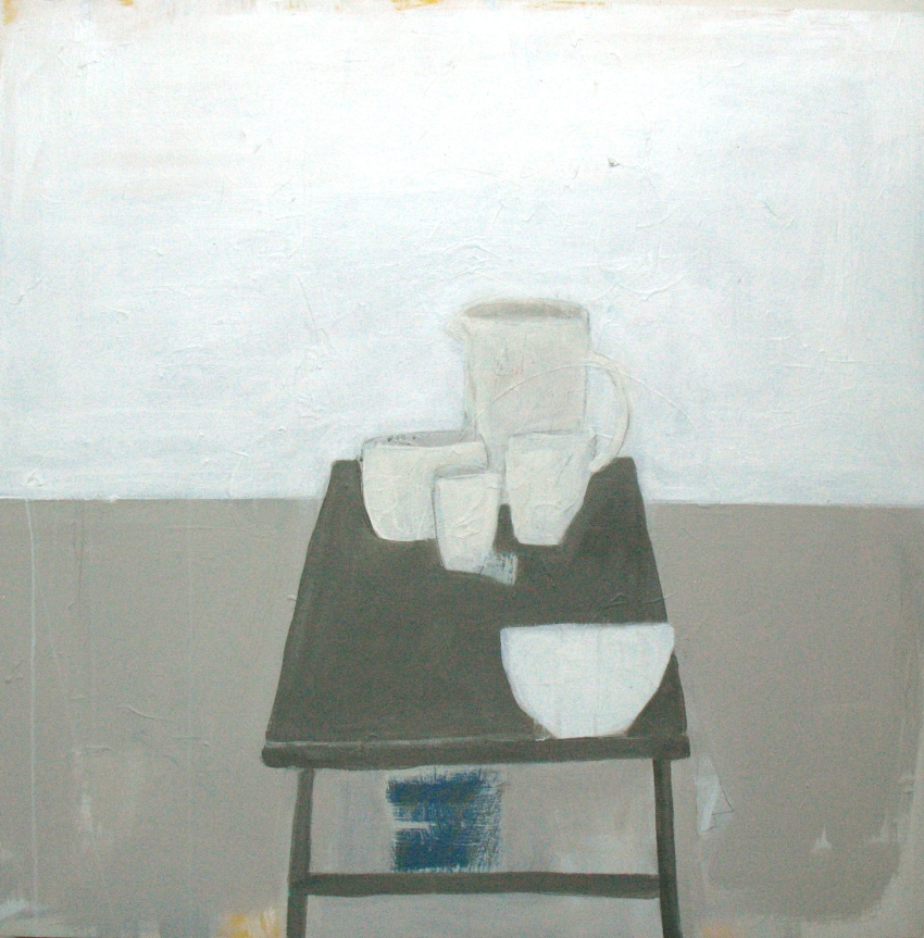 objects on grey table