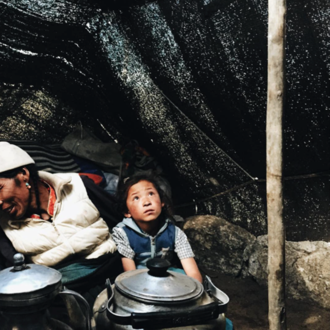 While biking through Upper Mustang, our volunteer team came across a family of nomads living about an hour away from the Tibetan border. And in typical Mustangi fashion, they invited us into their home (a tent made of yak wool) for po cha, or Tibetan butter tea. Because of the remoteness of where they live, the young girl in this photo and her little sister have never been to school and don't have other children to interact with. So three of our volunteers decided to sponsor their schooling until they both complete 12th grade, meaning they'll be sent to a boarding school in Pokhara within the next few months. Two of those volunteers were also sponsored when they were younger, and one of them is now a teacher in New York. Full circle!