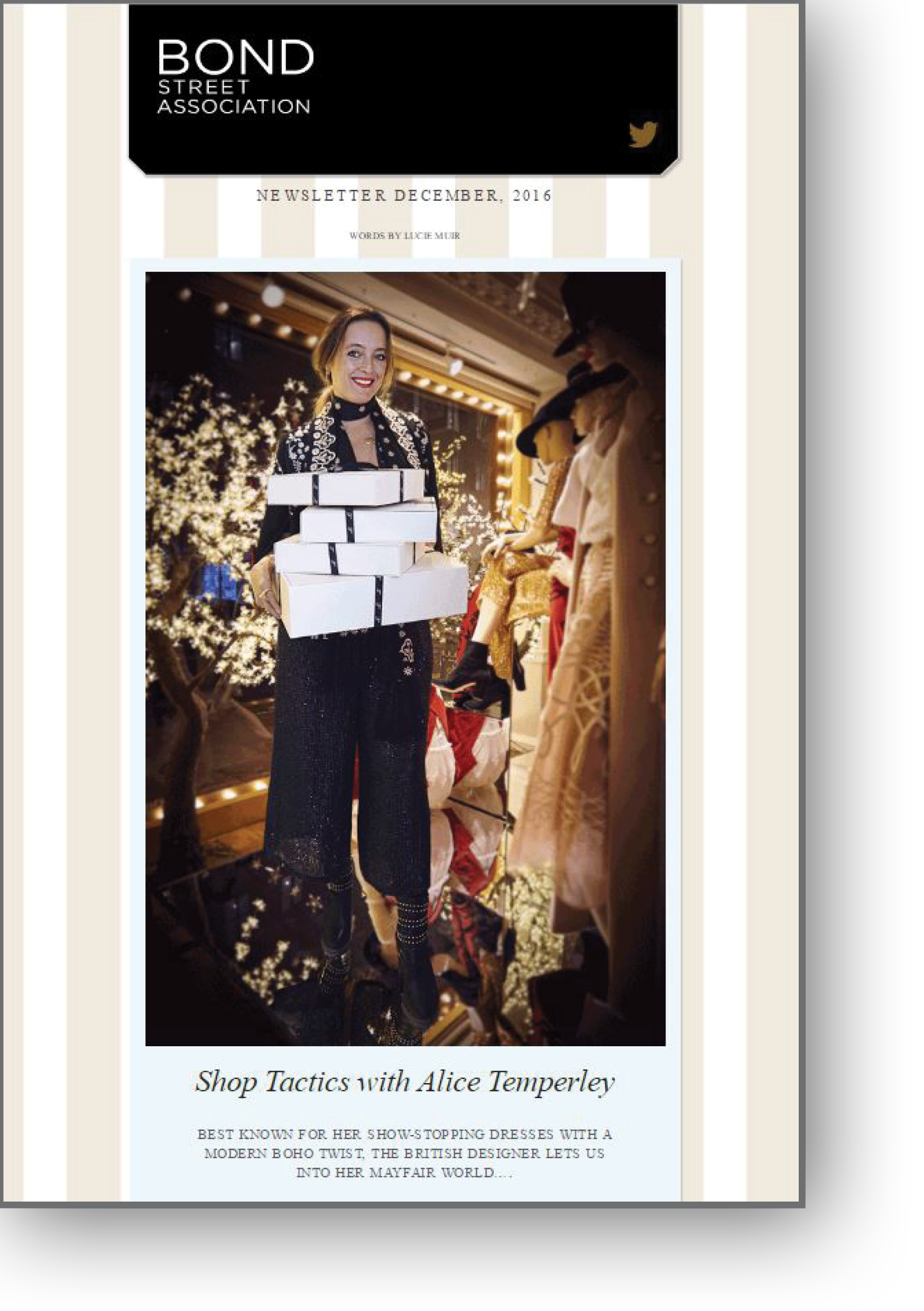 Shop tactics with Alice Temperly for the Bond Street Association Newsletter