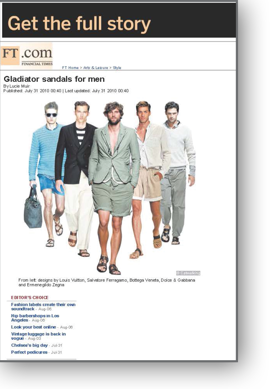 Gladiator sandals for men for the FT