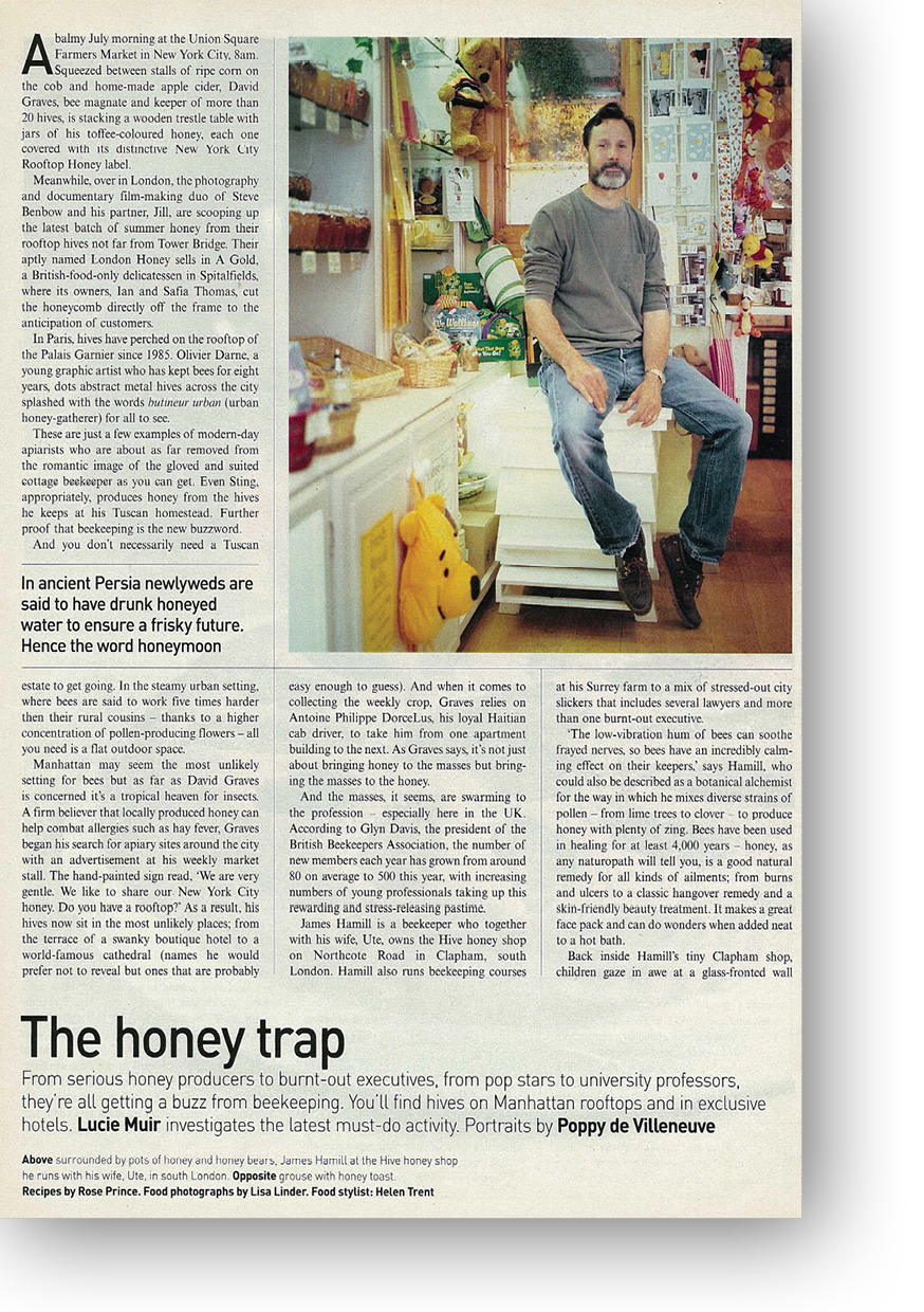 Article on Honey for the Telegraph Magazine by Lucie Muir