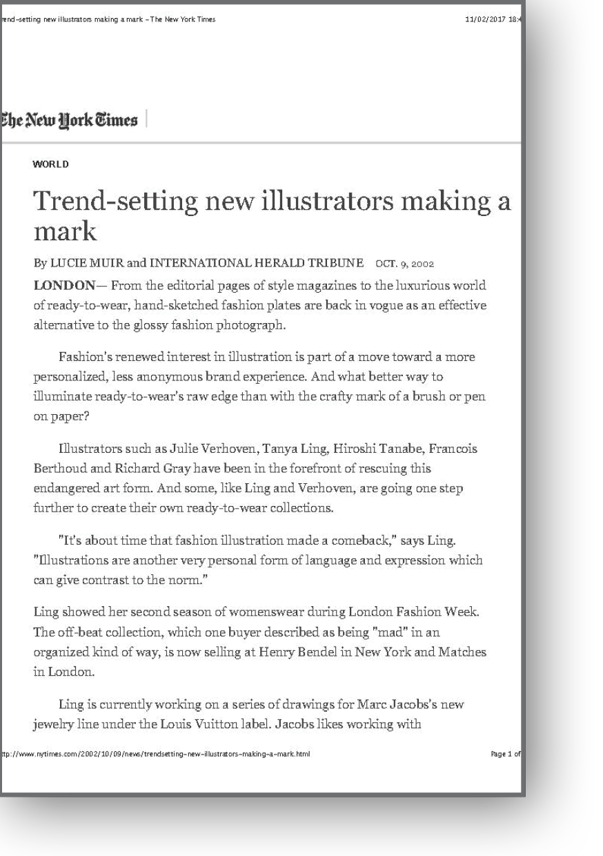 New York Times article on trendsetting illustrators