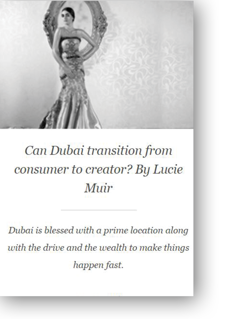 Hudson Walker Opinion Piece on Dubai by Lucie Muir