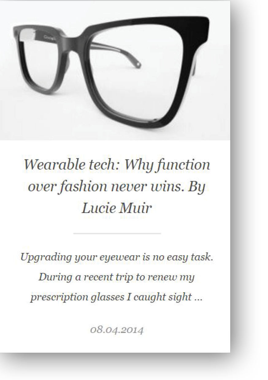 Lucie Muir opinion piece for Hudson Walker on wearable tech