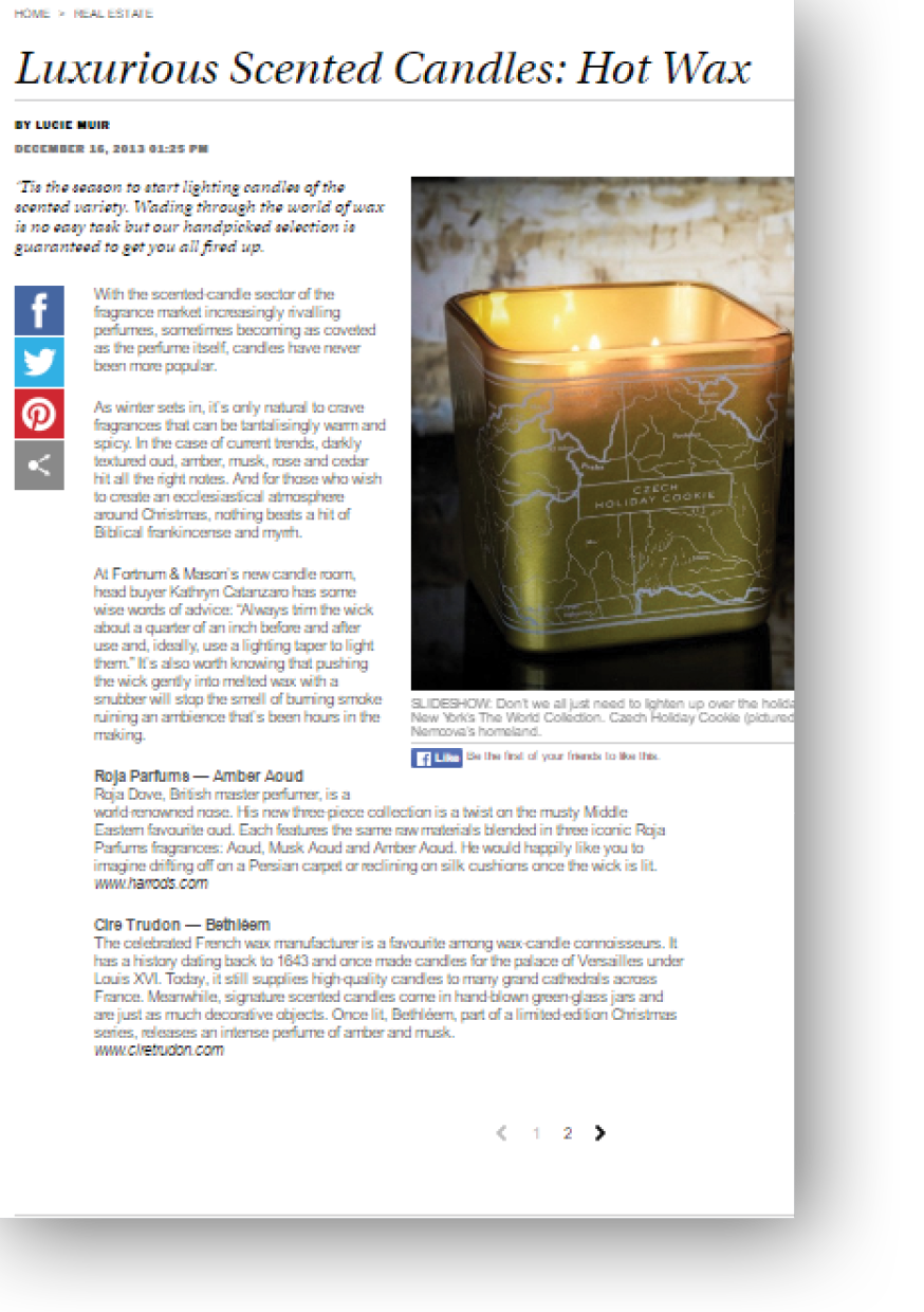 Lucie Muir writes about Luxurious Scented Candles