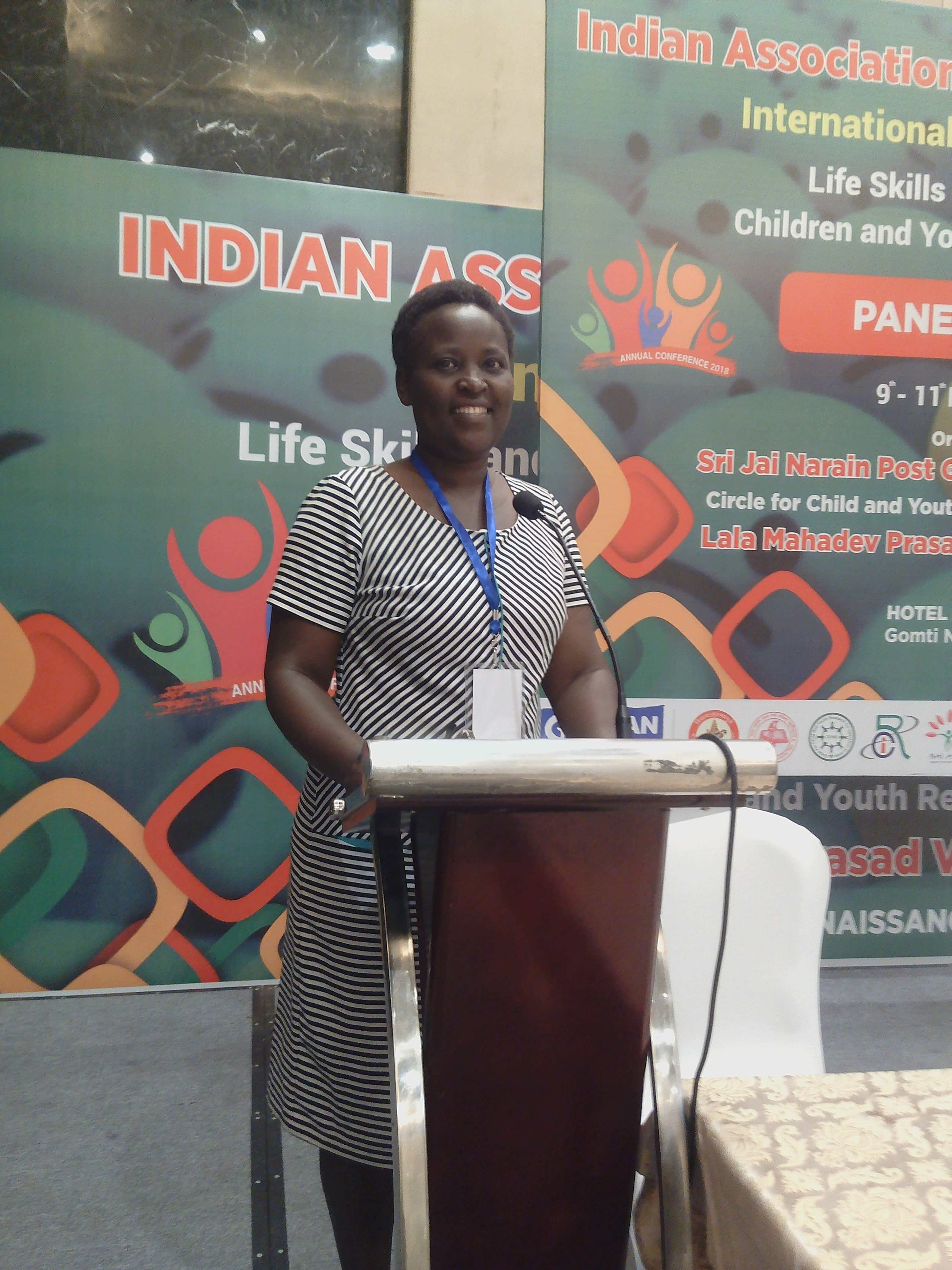 Naom makes her presentation at the international LSE conference in India