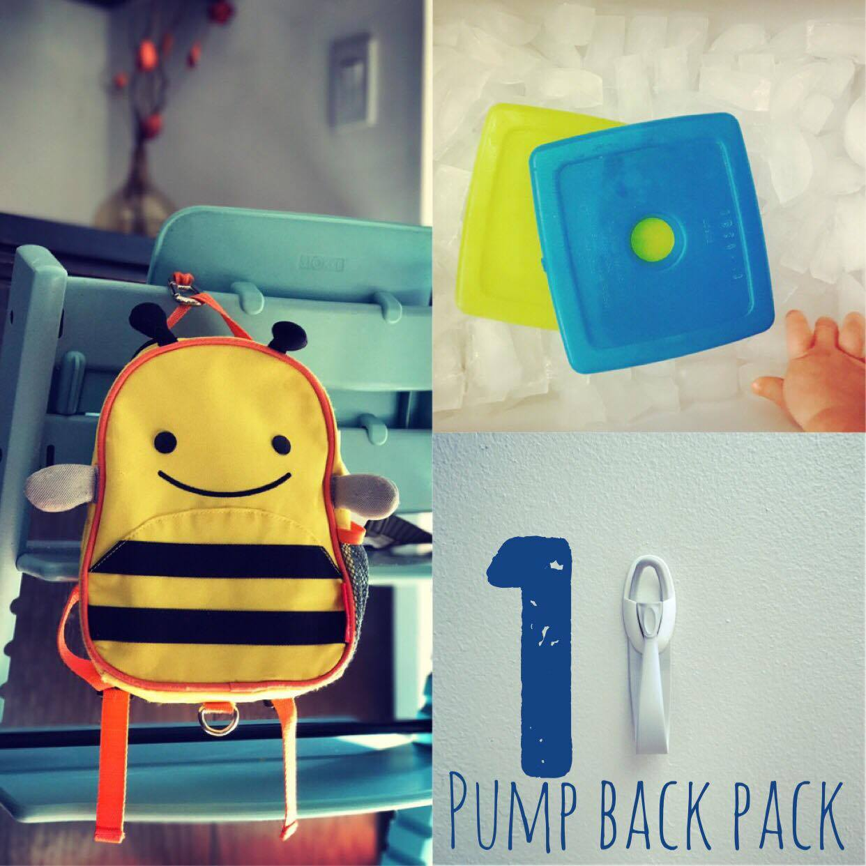 1. Pump Back Pack  I'll never forget the sound of the IV pole rolling around on the wood floor the first week we came home. We felt like we were walking on egg shells with our son and were so afraid of hurting him while moving from room to room. If you're able to ditch the pole and switch over to a pump bag, it makes a world of difference. I've adapted these Skip Hop Back Safety Harness Back Packs. I used the strap to create the inside and external hooks. I'm not making them for sale quite yet, but they can be found on  Etsy  through other sellers. We keep an  ice pack  in ours at night time and have 3M hooks through out our home so that we can clip it up and move on with our day. Usually the hook attached to the back pack is the best way to keep mobil. We hook it on grocery carts, high chairs, pack and plays while he sleeps, etc.