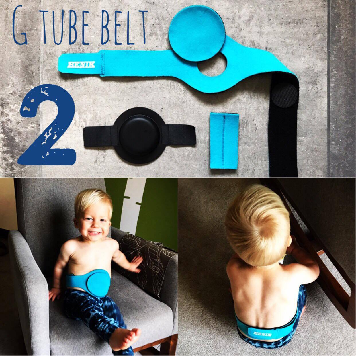 2. G Tube Belt  Once Arlo started doing tummy time I began worrying about his Mini One Button pulling from side to side, or even worse, it being pulled out.  I propped him up with extra pillows and blankets to cushion him. However, the first time he went down a slide on his tummy, I knew we had to find something to better protect the button from tugging or being pulled out. We don't use this  Benik Belt  daily. We use it for active times when we take a trip to the park, go to gymnastics class, or a play place. However, now that he wrestles with his big brother and slides down the stairs on his tummy, we may be using it a lot more in these toddler stages! They are pretty pricey, so we were able to have our pediatrician call it in as a prescription/recommendation and it drastically reduced the price.