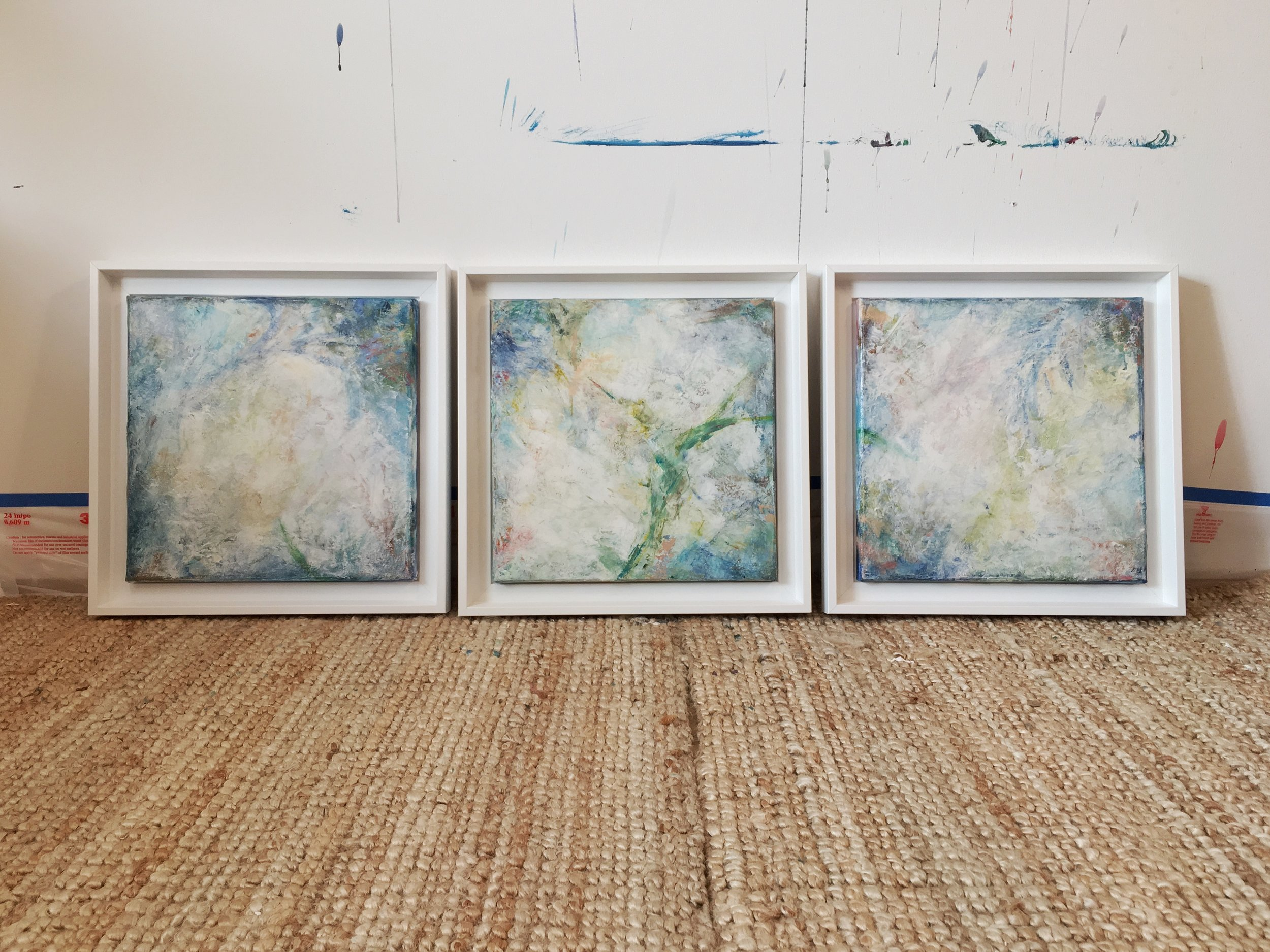 ||| - Delicate Balance[triptych]30x30cm venetian plaster and acrylic on canvas
