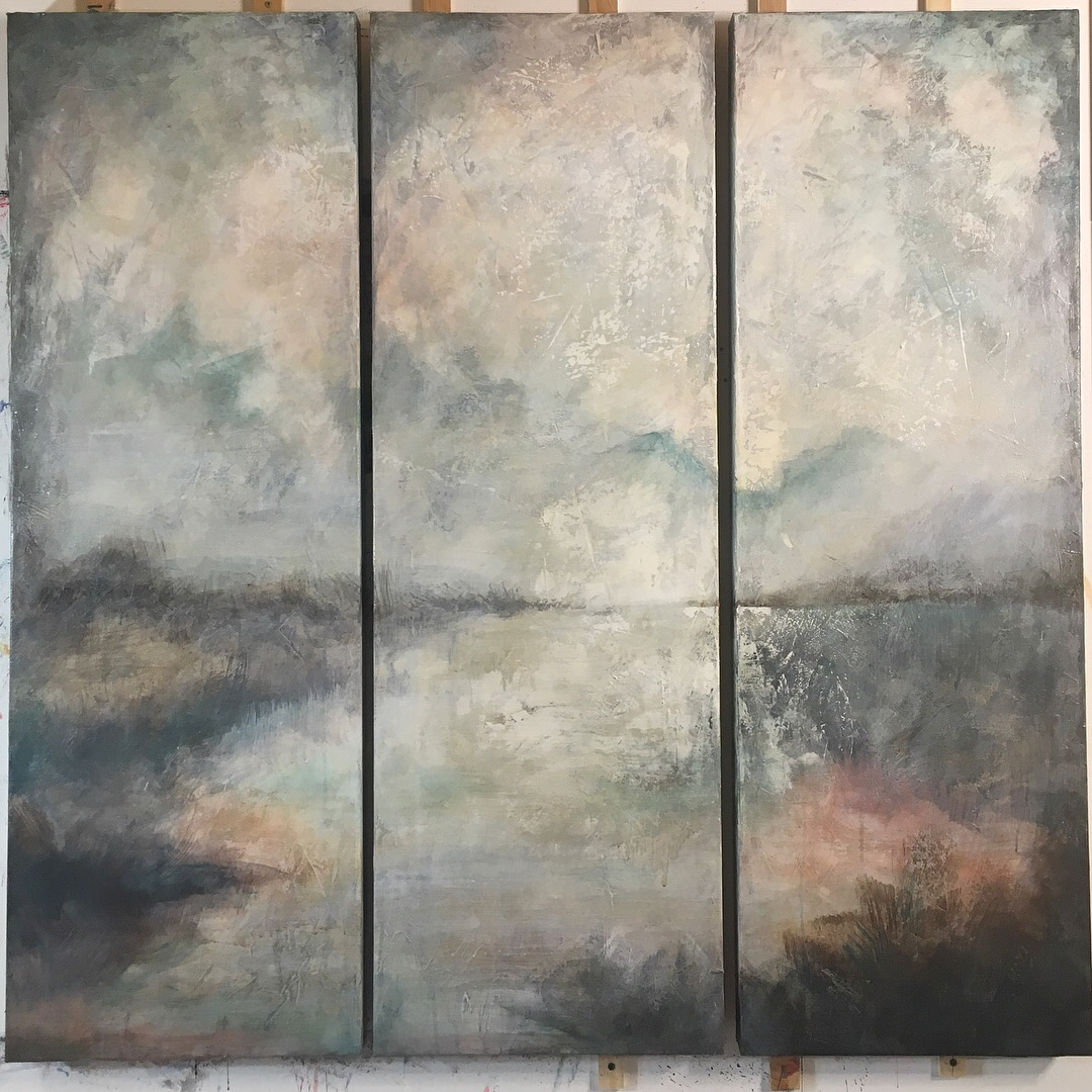 ||| - Between The Distance[triptych]40x120cm venetian plaster and acrylic on canvas