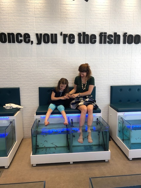 Checked a fish pedicure off the list - Olivia wouldn't do it!