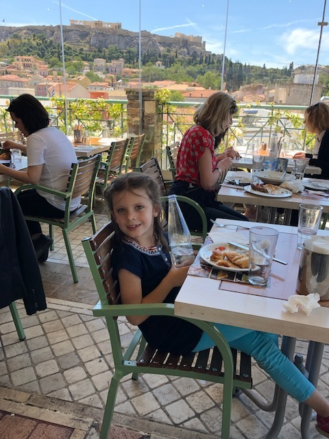 Lunch at the roof top Sabbas - incredible view of the Acropolis and great food!