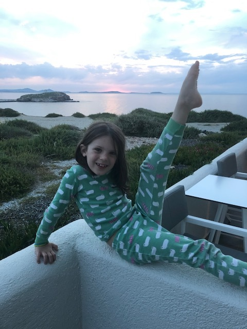 Goofing off from our patio after the sunset at the Hotel Grotta
