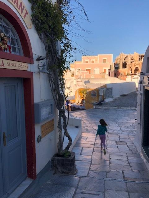 Running around the streets of Santorini
