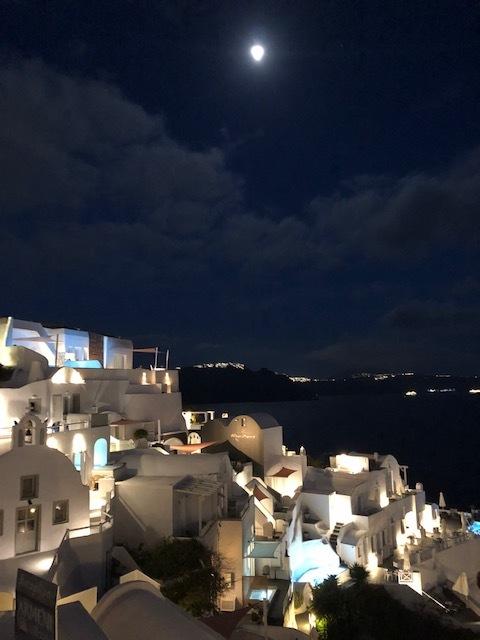 Full moon over Santorini!