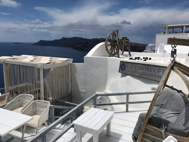 Our space in Santorini - was incredible! (just to the right of the lounger is the main street - if this photo continued to the right there would be tourists just on the other side of the grey lounger…) The hot tub was behind all the hanging rope - such a view!