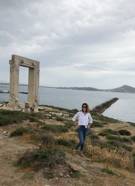 At the Portara of Naxos. Tip - leave your skinny jeans at home! Could barely squeeze into these by the end of the trip. No regrets