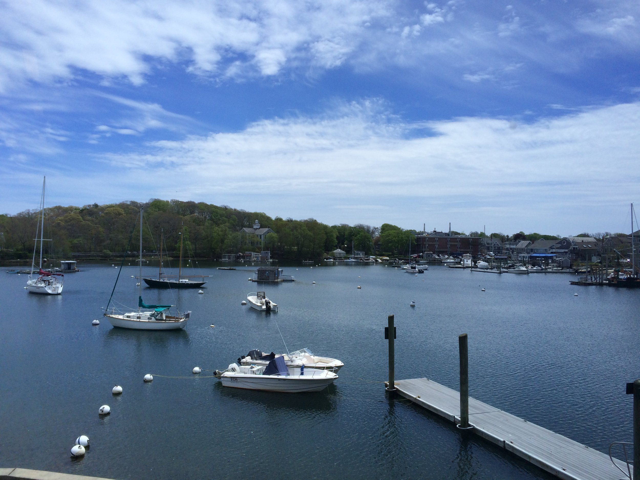 """Chris taught """"Spermatogenesis II"""" in the 2016 Frontiers in Reproduction (FIR) course at the Marine Biological Laboratory at Wood's Hole, MA. This is aview of beautiful Eel Pond from just outside the cafeteria..."""