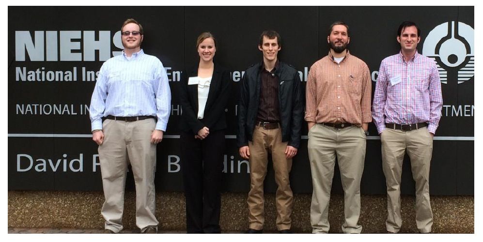 The Geyer lab attended the 2015 Triangle Consortium for Reproductive Biology (TCRB) meeting at the NIEHS. Pictured, from L-R: Nicholas Serra, Ellen Velte, Jonathan Busada, Chris Geyer, and Bryan Niedenberger.