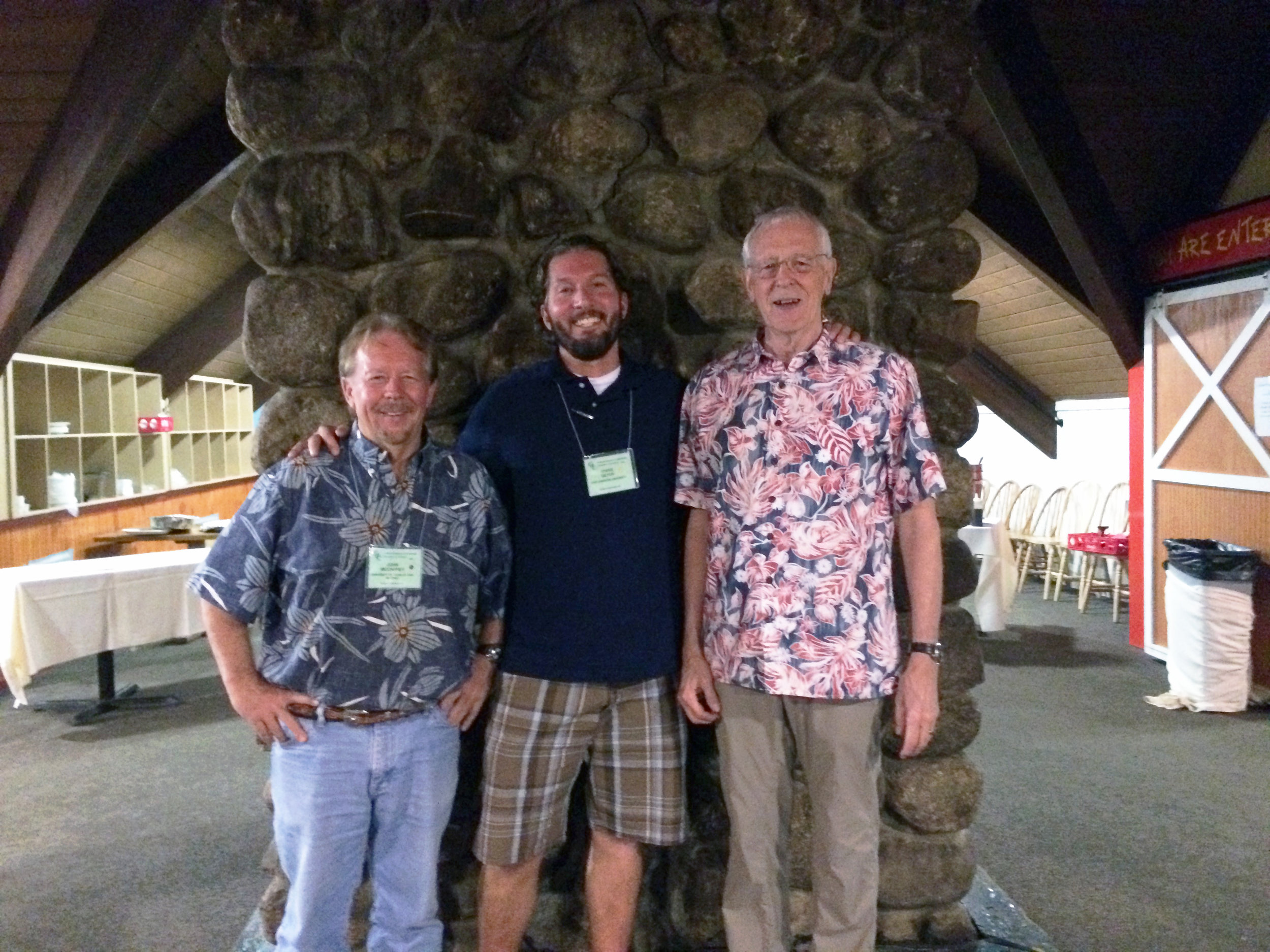 Chris hanging out with his mentors at the 2016 Gordon Research Conference at the Waterville Valley Resort, N.H. On Chris's right is his Ph.D. advisor, John McCarrey (University of Texas at San Antonio), and on his left is his postdoctoral advisor, Mitch Eddy (National Institute of Environmental Health Sciences, retired).