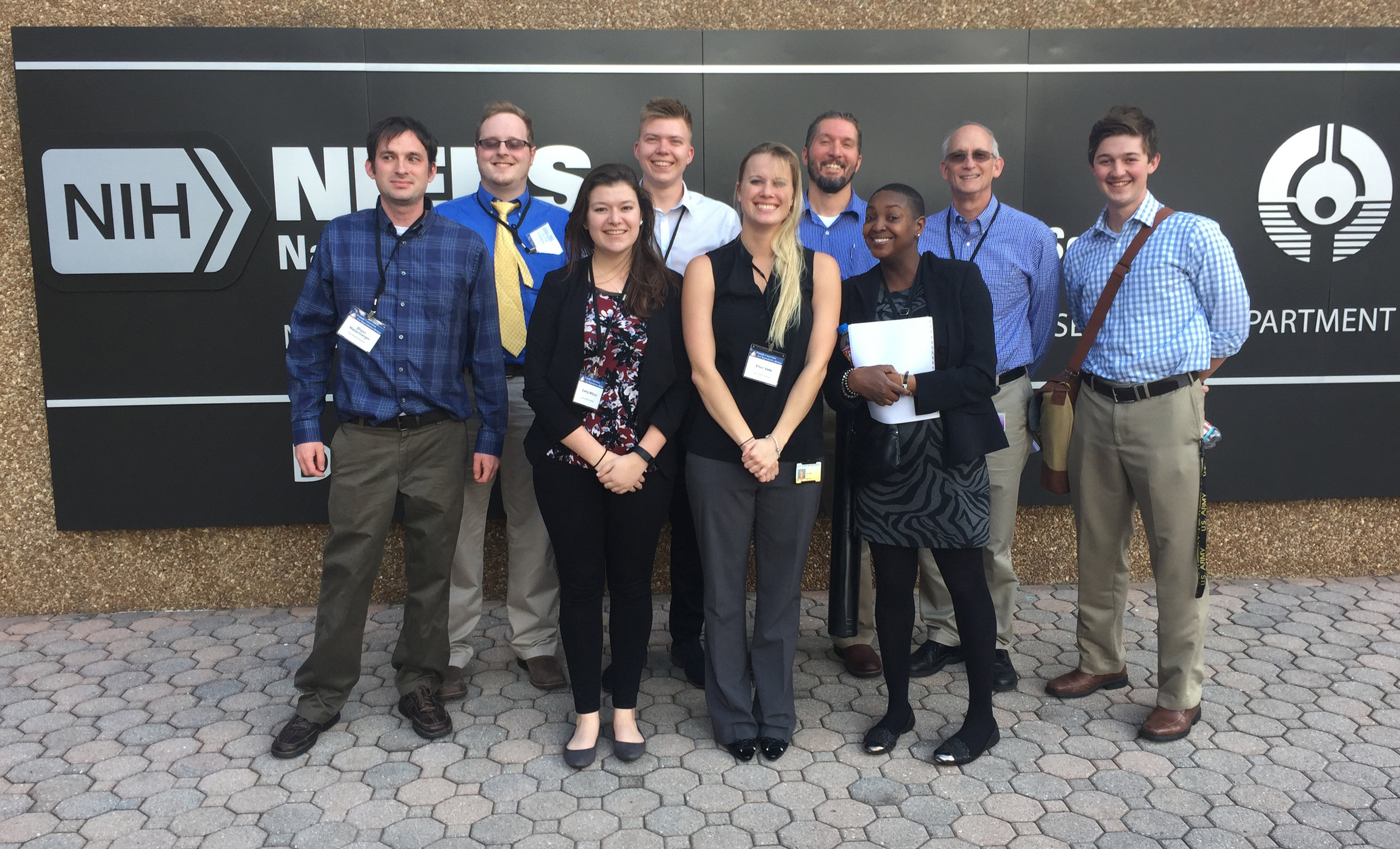 The Geyer lab and other scientists from ECU attended the 2017  Triangle Consortium for Reproductive Biology  (TCRB) meeting at the NIEHS. Pictured, from L-R: Bryan Niedenberger, Nick Serra, Emily Wilson, Sasha Kirsanov, Ellen Velte, Chris Geyer, Marquita Johnson, Randy Renegar, and Trey Cook.