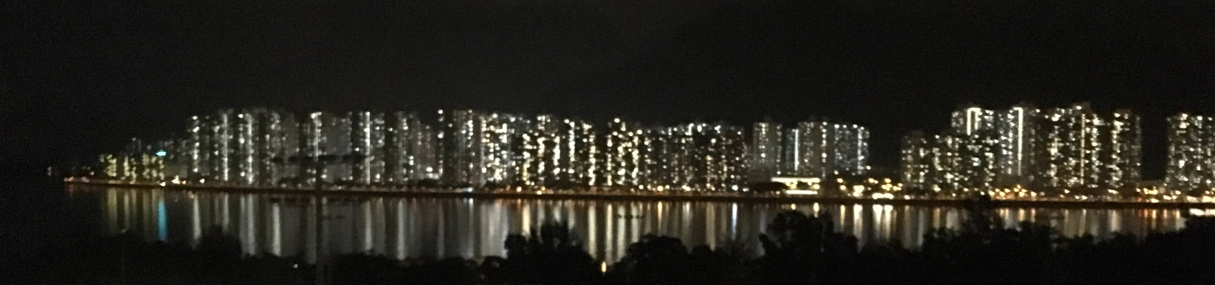 """Chris flew to Hong Kong in June 2017 to speak at the Germinal Stem Cell Biology Gordon Research Conference. This year's focus was on """"Programming and Reprogramming the Vertebrate Germline"""". This is a view of the Hong Kong skyline across from a balcony at Morningside College, the site of the Wednesday night social."""