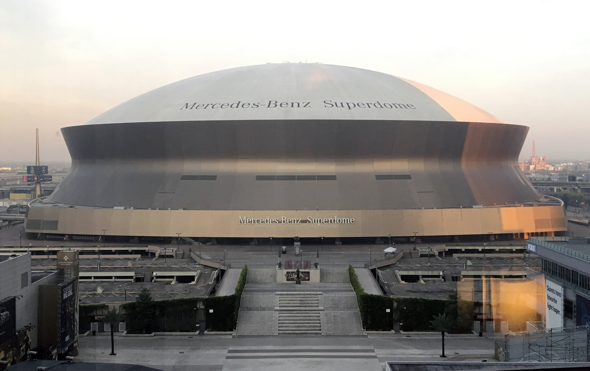 """Chris attended ENDO 2019 and chaired a session entitled """"Normal Spermatogenesis is Critical for Reproductive Function"""" with 3 amazing speakers:  Kyle Orwig  (Magee Womens Institute at the University of Pittsburgh),  Brad Cairns  (Huntsman Cancer Institute at the University of Utah), and  Dorry Lamb  (Weill-Cornell Medical College). This view of the Superdome was out of the hotel room window!"""