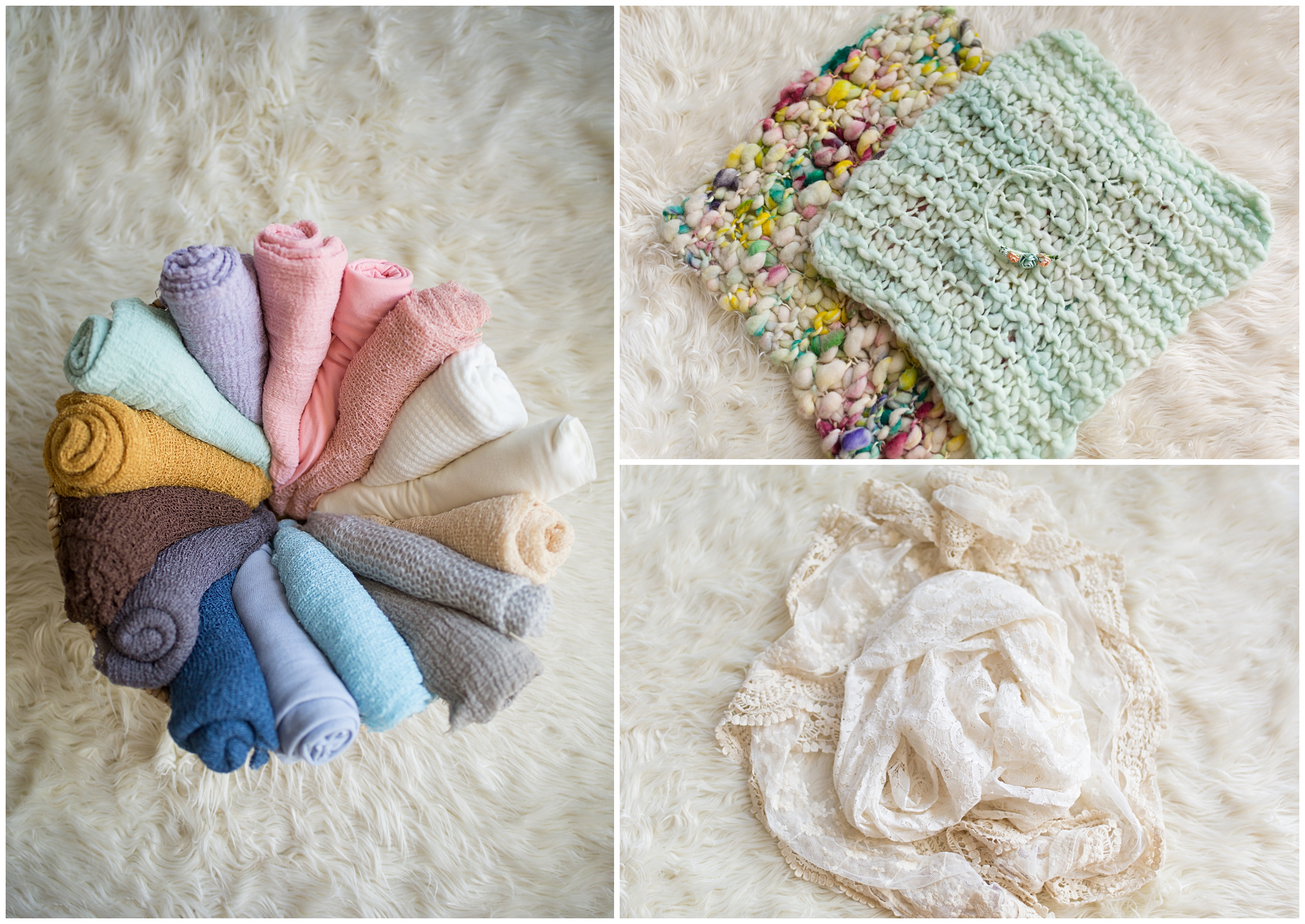 The photo on the left are all my swaddle wraps. This is what I use to bundle your baby up all snug and warm. The top and bottom photos are layer pieces made from hand-spun wool and lace. They bring beautiful texture and color to your images and babies love how soft they are!