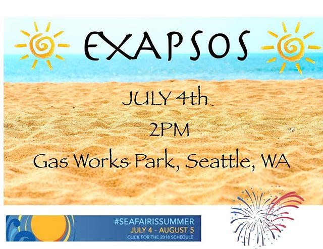 Don't have any plans for July 4th? Well we have an idea for you. Come check us out at Gas Works Park as part of SeaFair!! Lots of awesome music and food!! We play at 2pm!! #seattle #july4th #music #pnw #summerfun #exapsos #seafair #rocknroll #sunnydays #food #entertainment #seattlefun