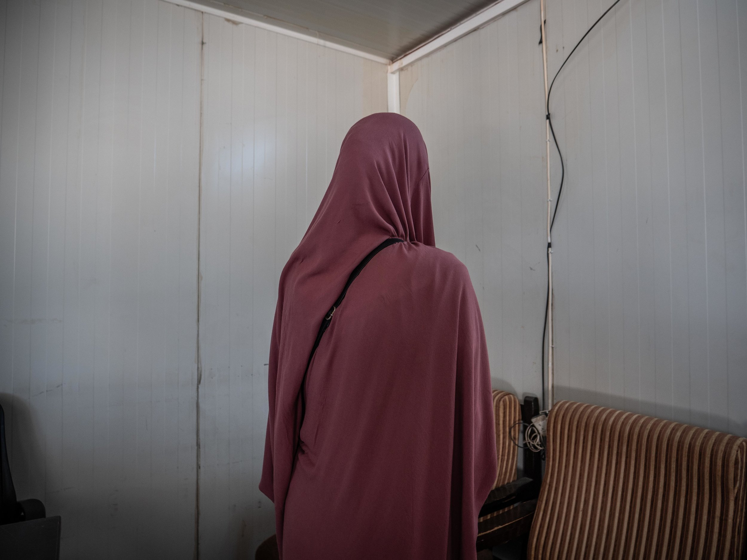 01/06/2019 - Roj Camp, Syria - Hayaam, 32, is a swiss citizen who traveled to Raqqa to join the Islamic State in 2015 together with her husband. She now lives in a detention camp in Northern Syria with her 2 year old daughter.