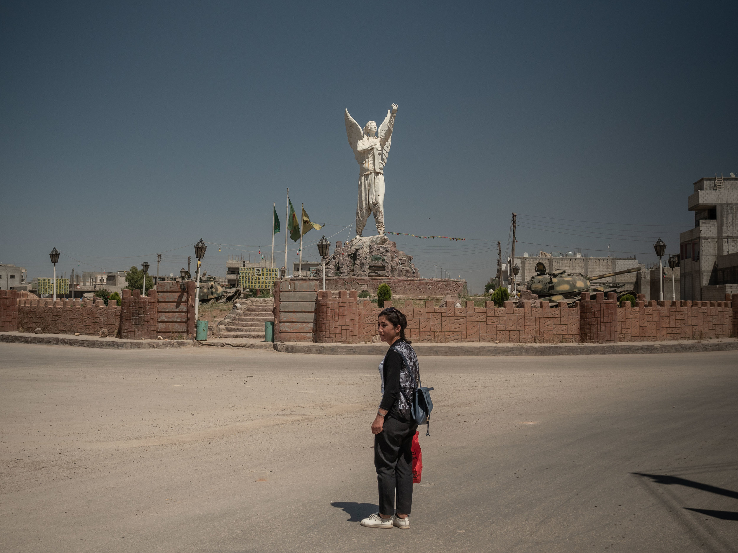 28/05/19, Kobane, Syria - The monument dedicated to YPG fighters at the entrance of Kobane.