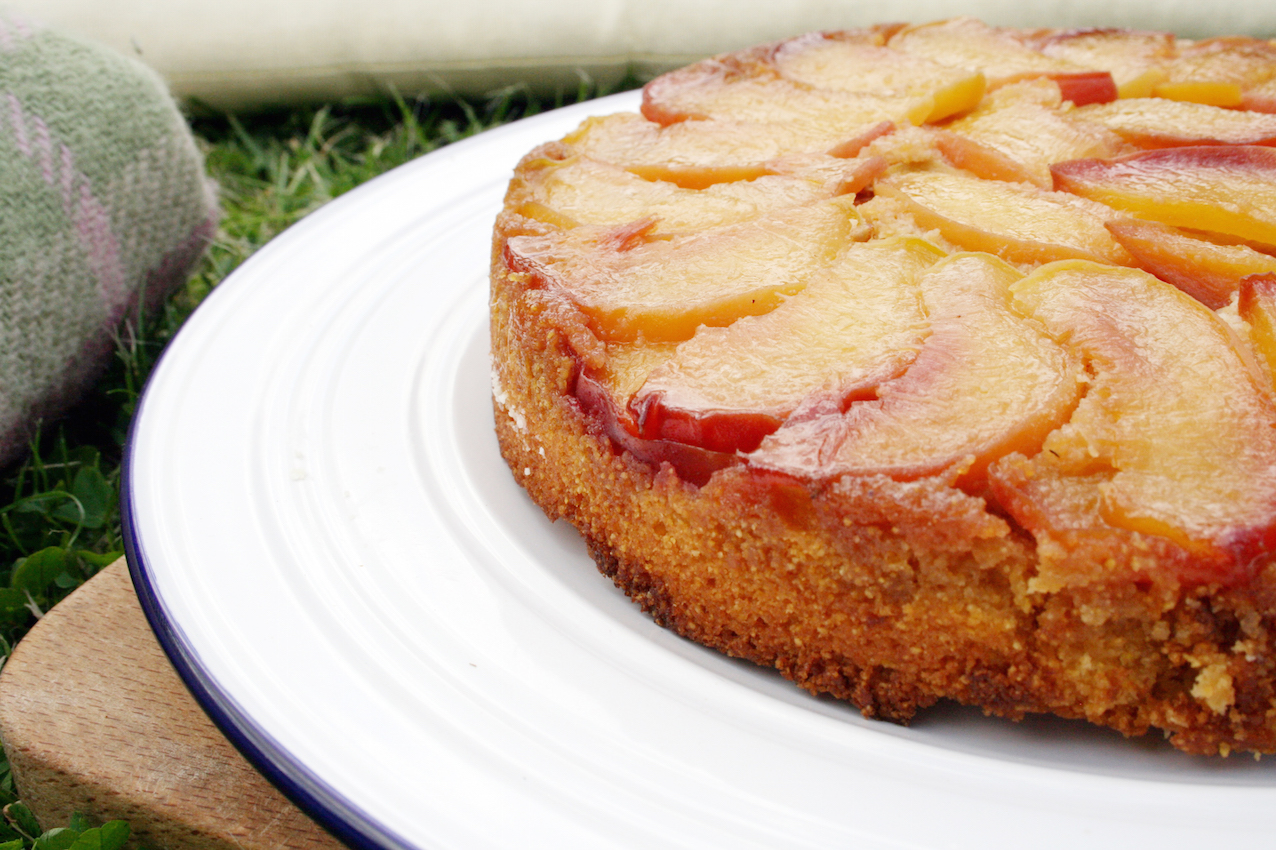 Early Bird Farm Peach Polenta Upside Down Cake