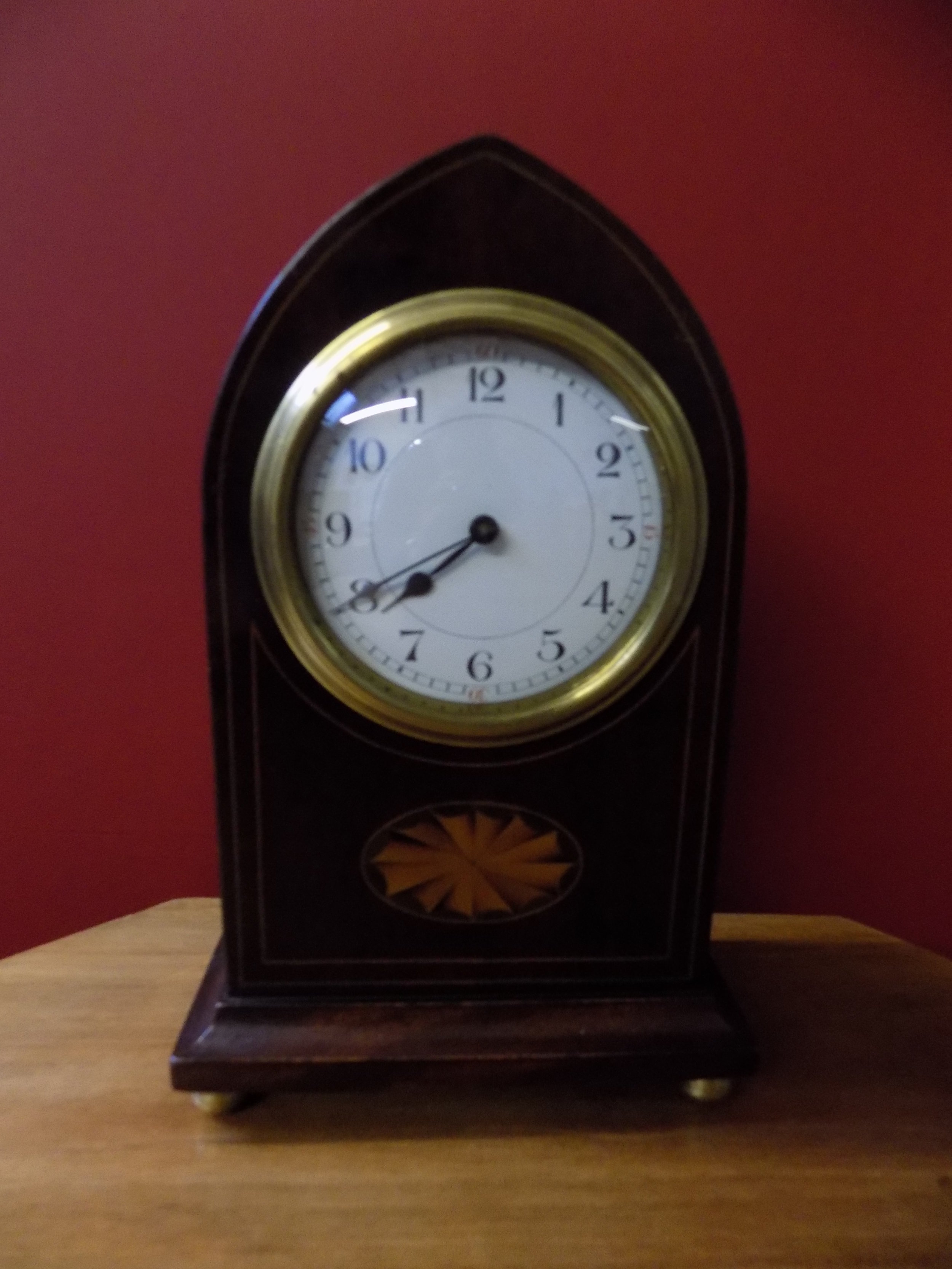 Edwardian inlaid mahogany mantel clock £75.00