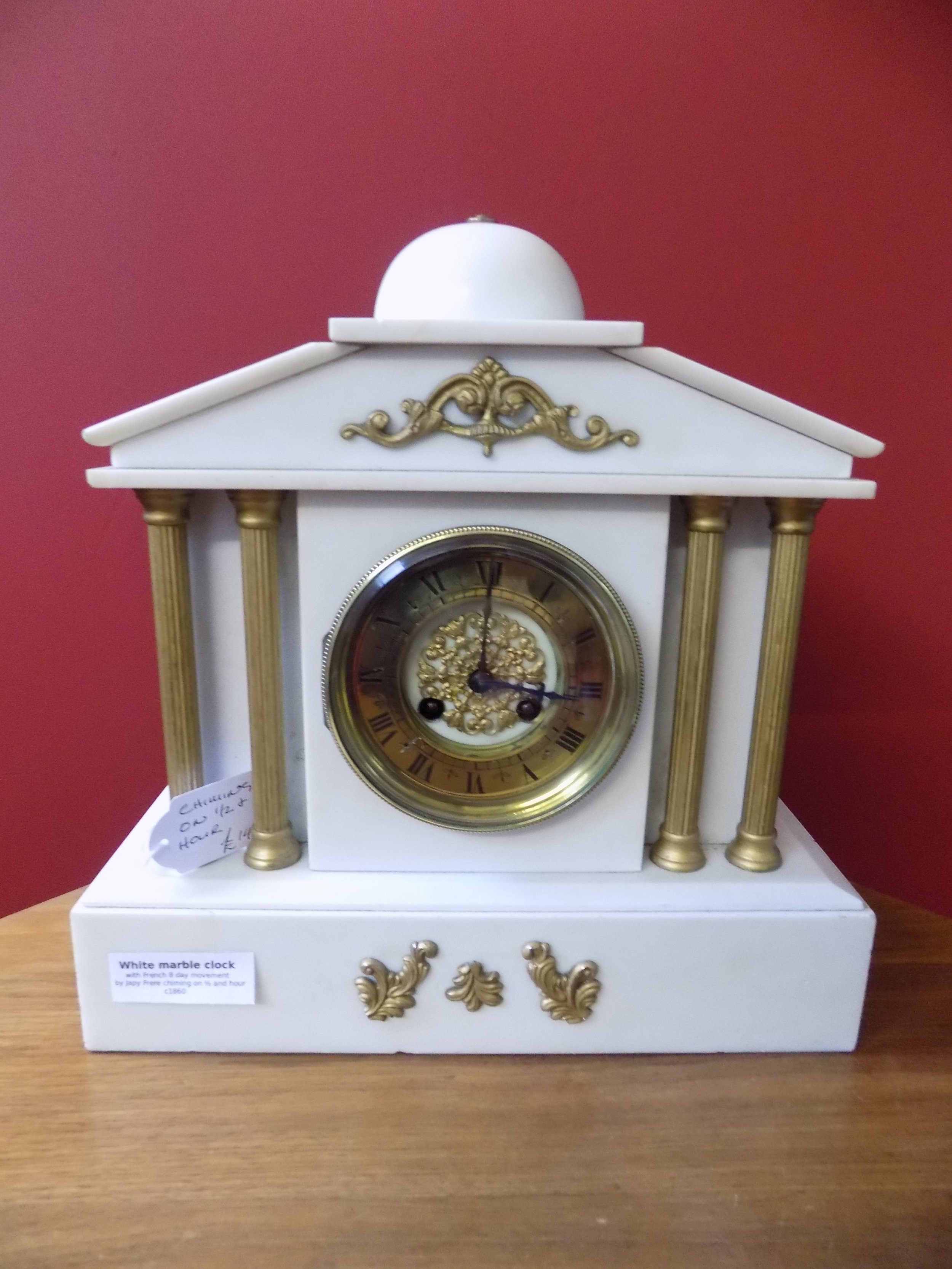 19th century white marble mantel clock by Japy Frere £140.00