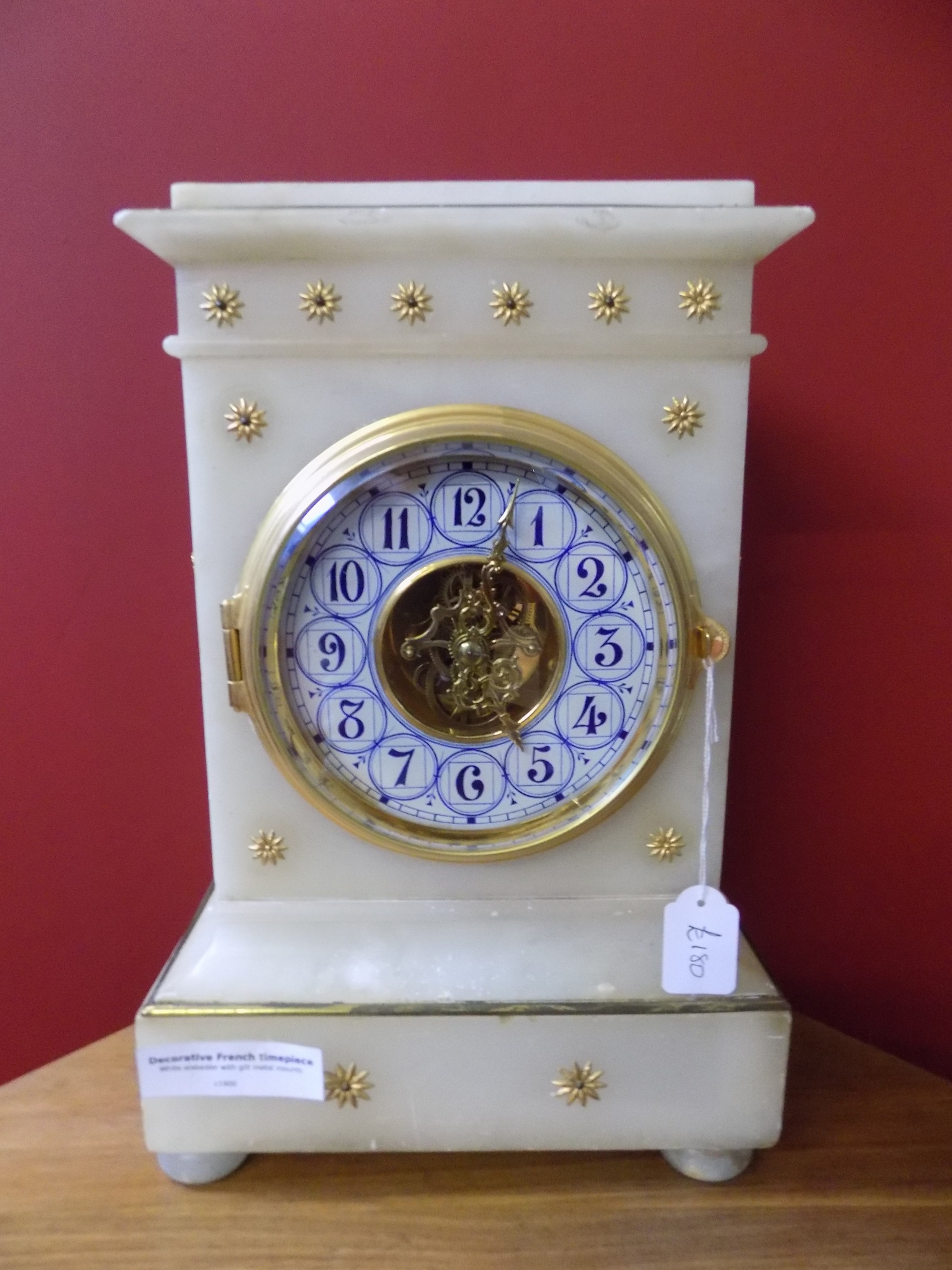 19th century Alabaster and gilt mantel clock £180.00