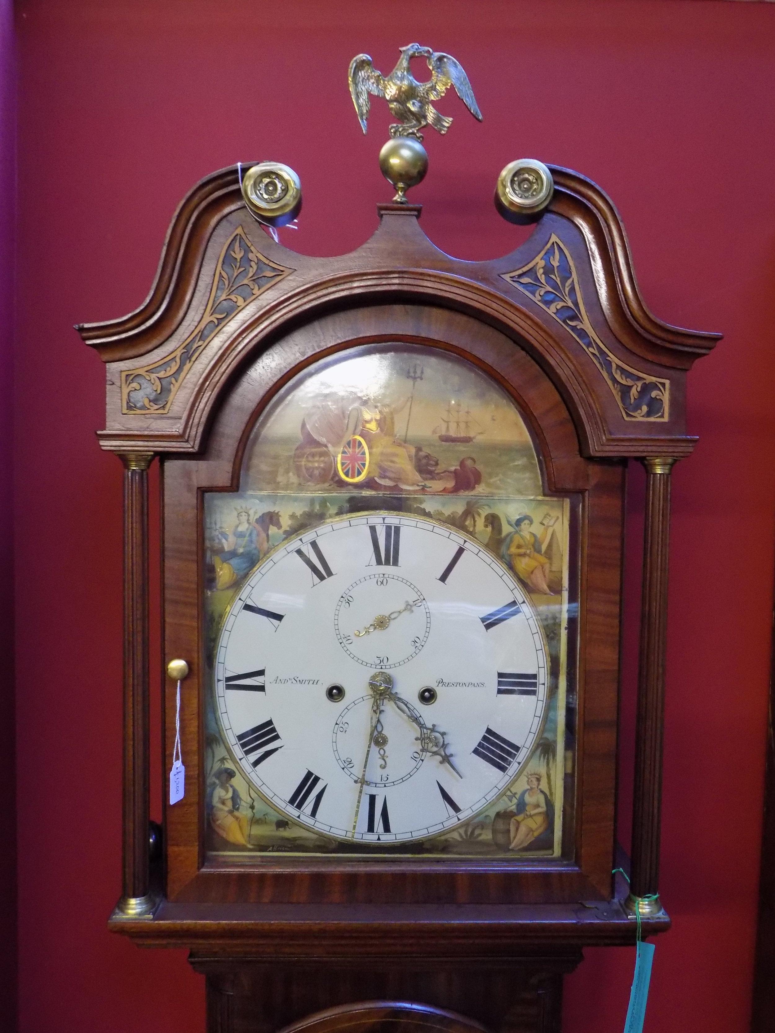1830 Mahogany longcase clock by Andrew smith of Prestonpans Edinburgh £1200