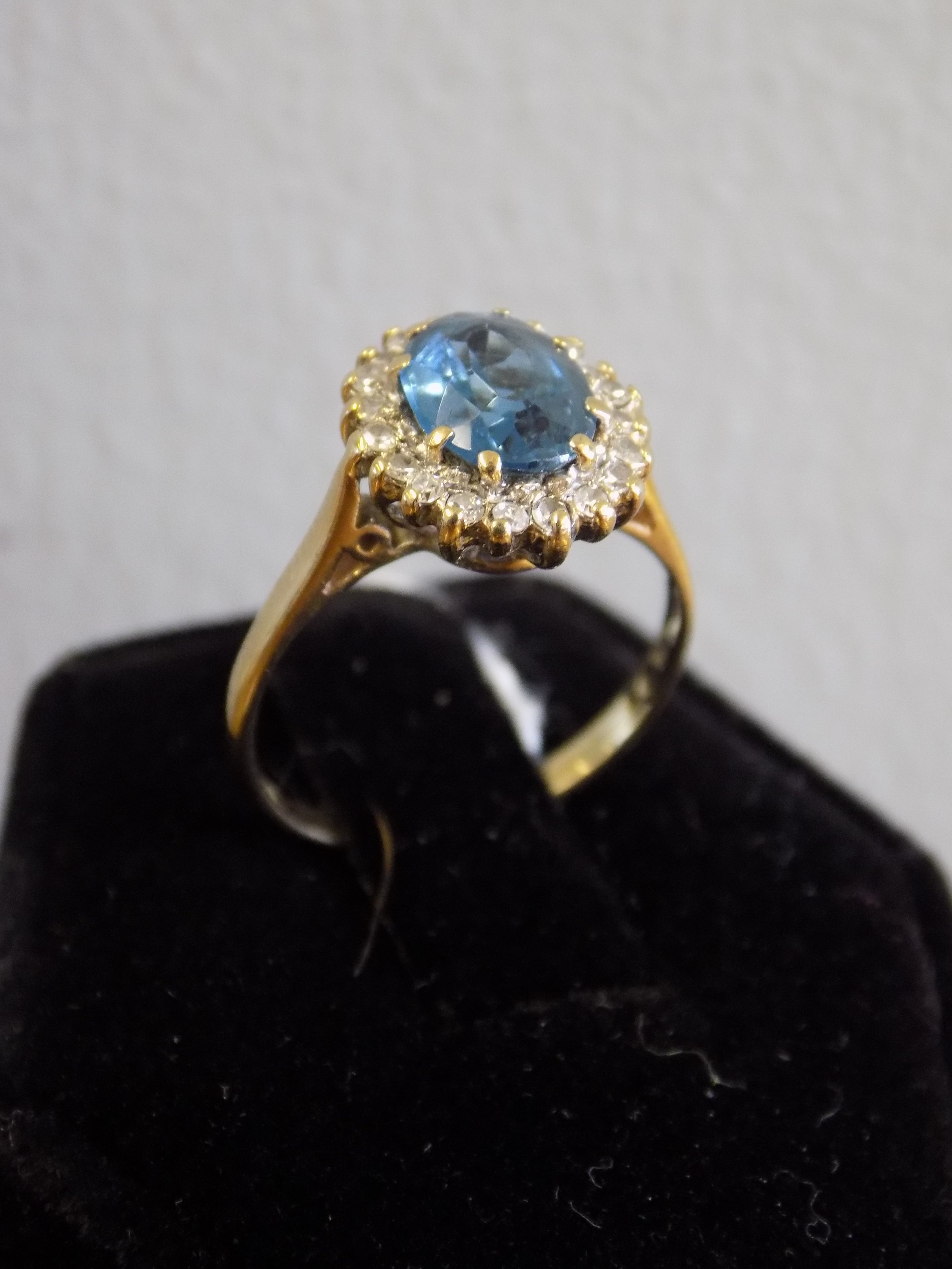 9ct gold blue topaz and diamond ring £160.00