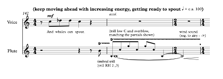 Example 14. Bars 142-144 of Zoo, mimicking whale songs with timbral trills and overblowing.  © Copyright 2017 by Nina Shekhar. Used with permission.