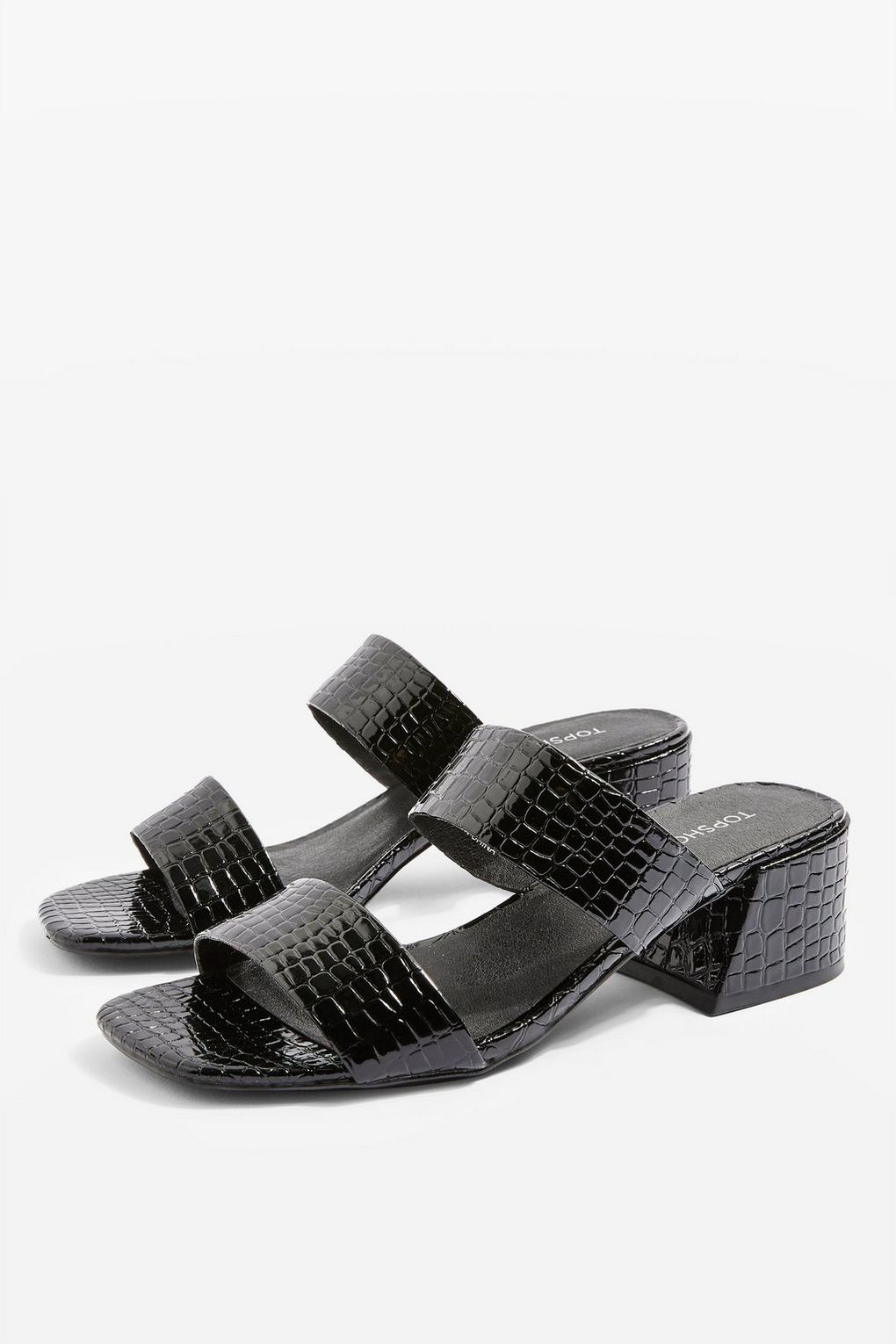 Topshop: Downtown Crocodile Mules / $