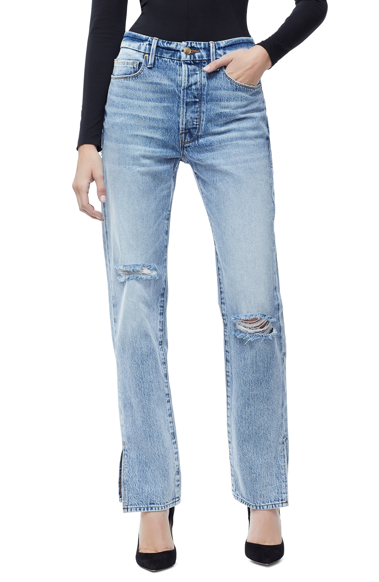 Good American - Good Boy High Rise Ripped Boyfriend Jeans - $179