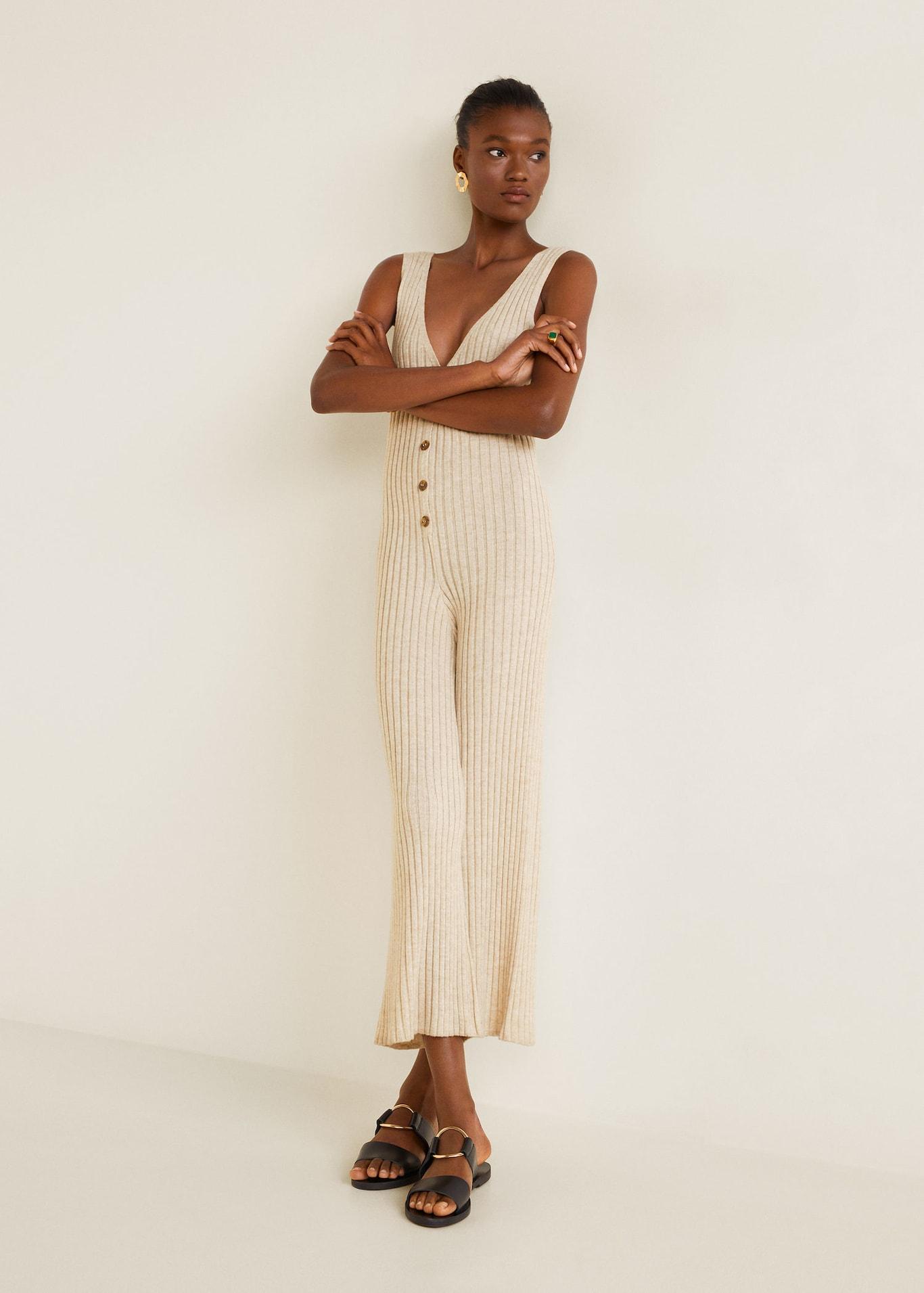 Mango: Ribbed Knit Jumpsuit - $59