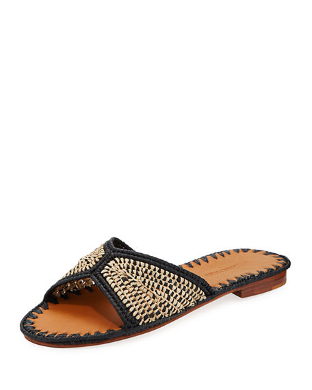 Salon Miste Woven Raffia Slide Sandals