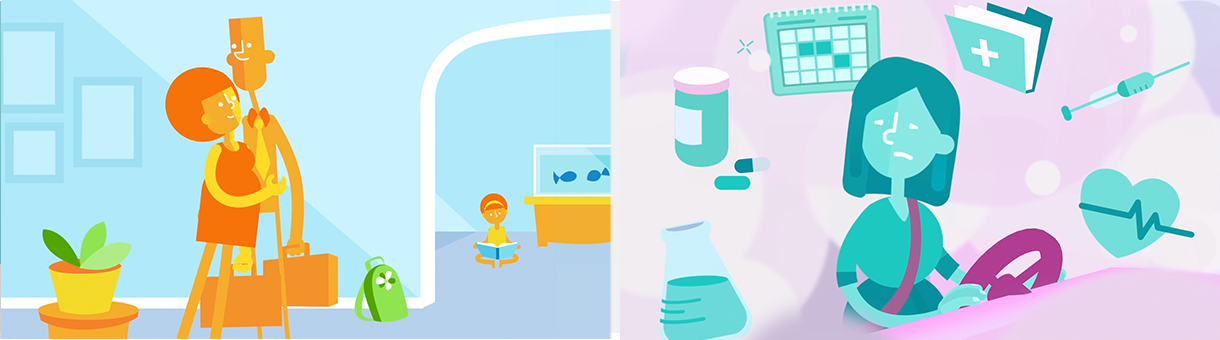 Premiere Health E-Visits Explainer   -    Watch     Backgrounds, Color, Character Rigs and Animation by Lauren Valko, Client: Premiere Health   Software Used; After Effects, Illustrator, Plugins- Joysticks'n'Sliders, Rubberhose, Motion V2