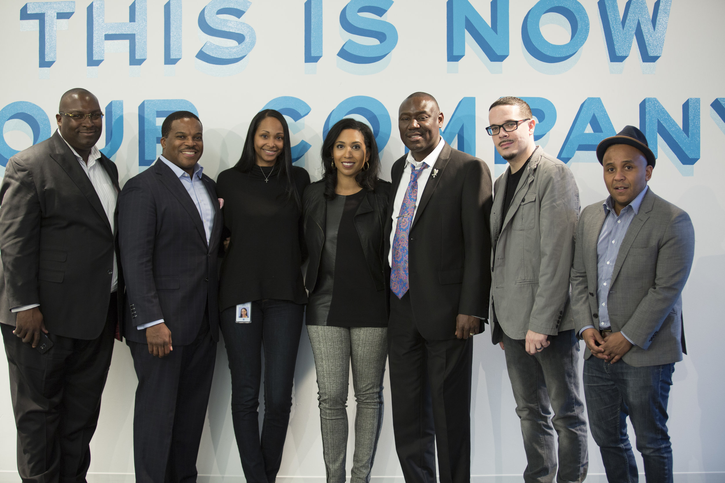"""Facebook Black History Month panel, """"Black Lives Matter 2,"""" organized by Bari, and sponsored by Black@, Facebook's Black employee resource group. Panelists include (left to right): Daryl Parks, Esq., Eric L. Welch Guster, Esq., Bari, Prof. Leah Wright Rigueur, Benjamin Crump, Esq., Shaun King, and Rashad Robinson.  Photo Credit: Netta Conyers-Haynes"""