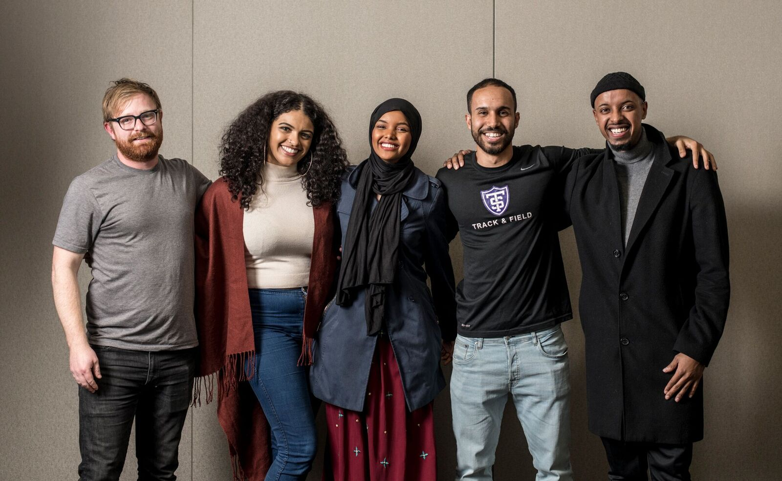 From left to right: John Haynes (Photographer), Felicia Philibert (Chief Operating Officer and Journalist), Halima Aden (Dream Refugee interviewee), Mohamed Malim (President and Founder), and Mubarak Hassan (Event Photographer)