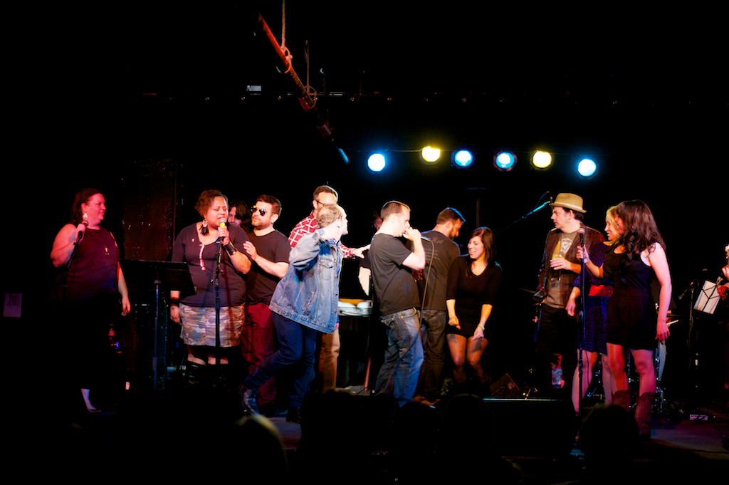 Story League Sings: Bad Boys (Heather, Sasha, me, Andrew, James, Jason, Sarah, Shawn, Dana) at Black Cat DC. Photo:  Andy DelGiudice